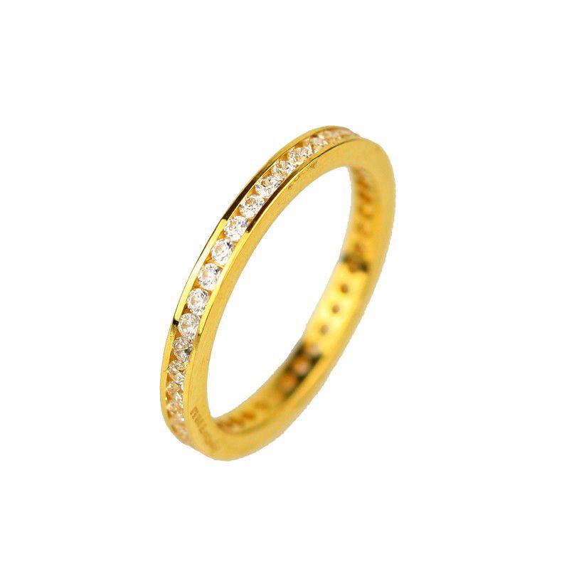 22k Gold Glittering White CZ Band