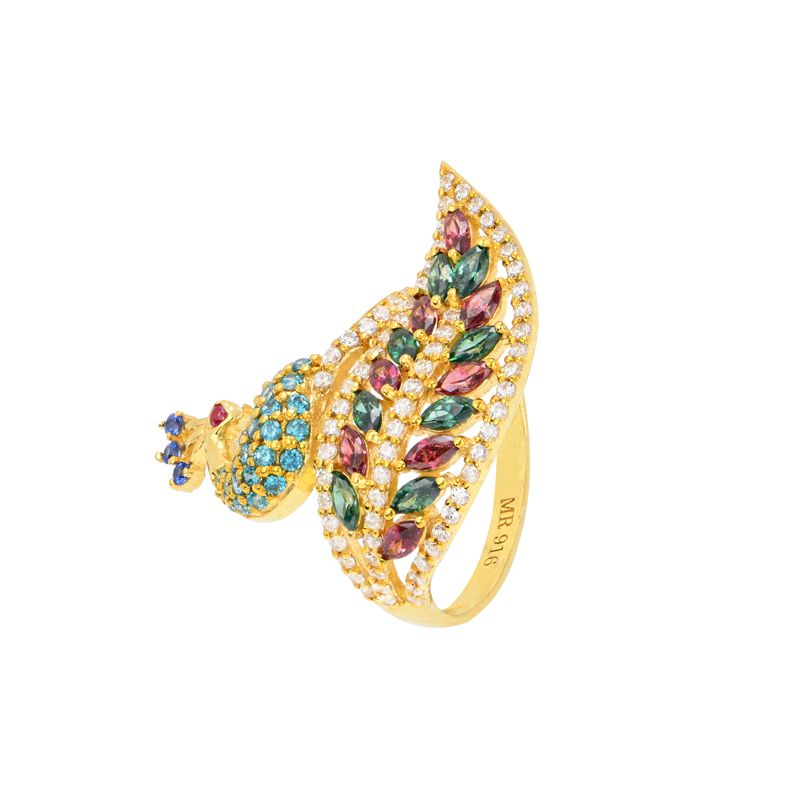 22k Gold Deco CZ Peacock Ring