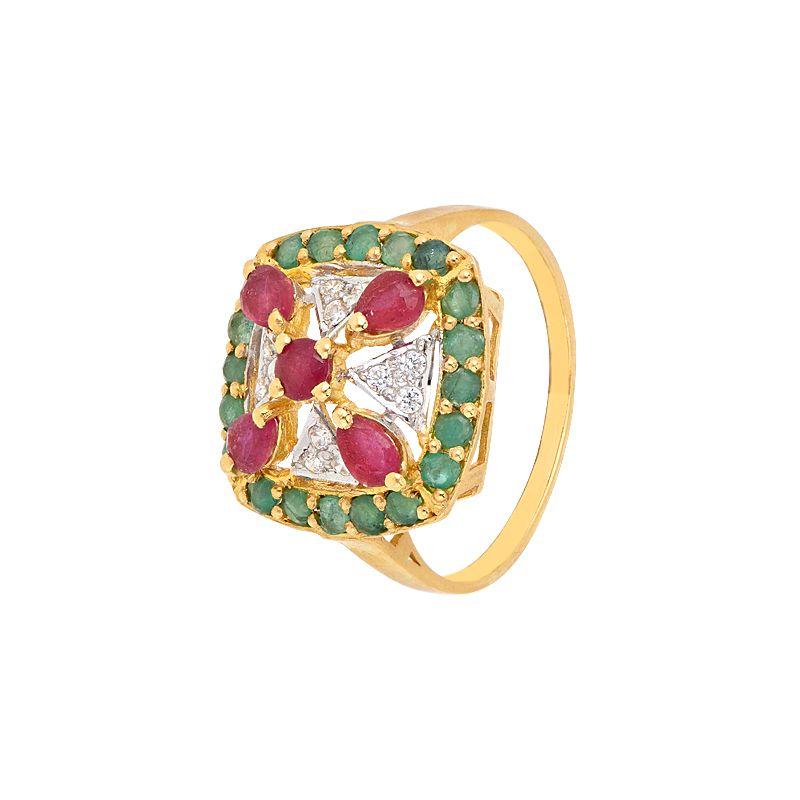 22k Gold Gemstone CZ Cocktail Ring