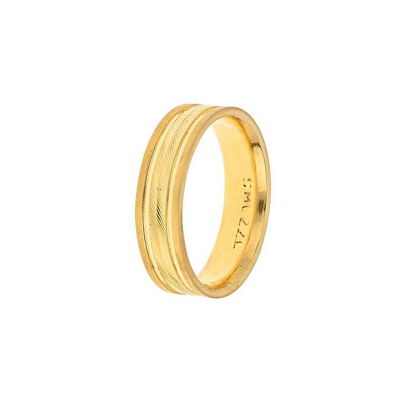 22k Gold Emboss Texture Milgrain Band