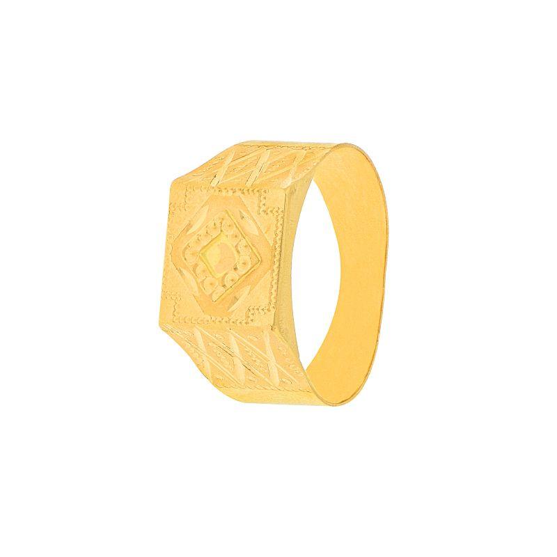 22k Gold Embossed Square Signet Ring
