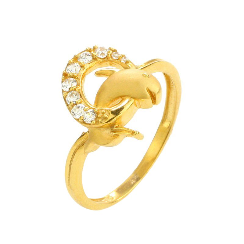 22k Gold Dolphins CZ Ring