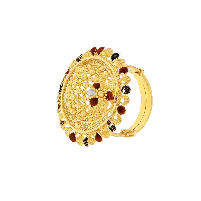 22k Gold Mesh Enamel Cocktail Ring