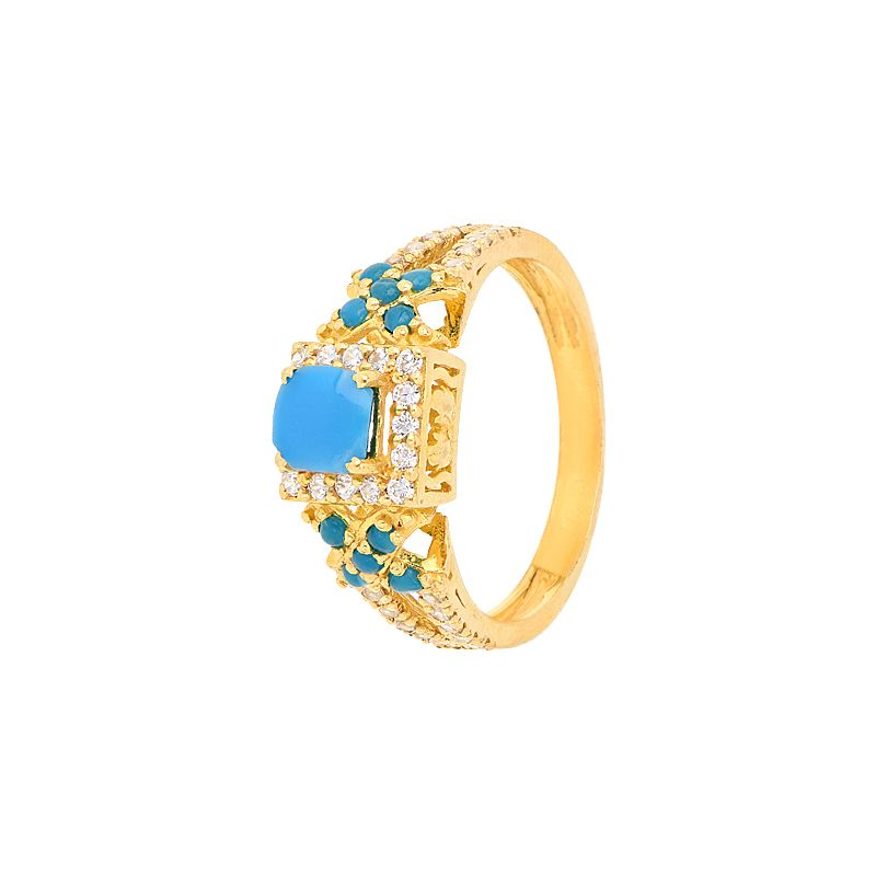 22k Gold Turquoise Cz Gold Ring