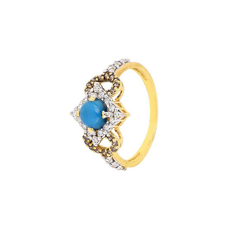 22k Gold Turquoise Gemstone-CZ Ring