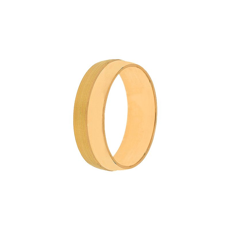 22k Gold Half Stripes Wedding Band - 10.5