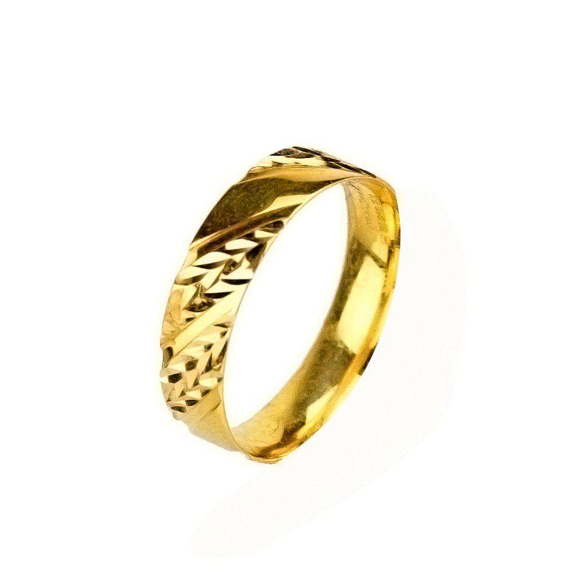 22k Gold Embossed Gold Wedding Band