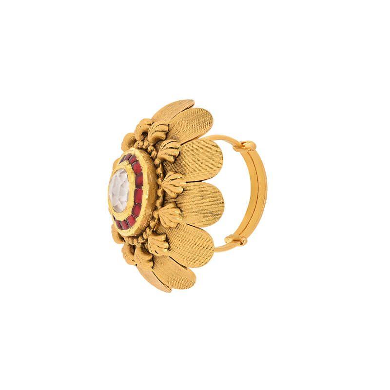 22k Gold Antique Floral Kundan Ring