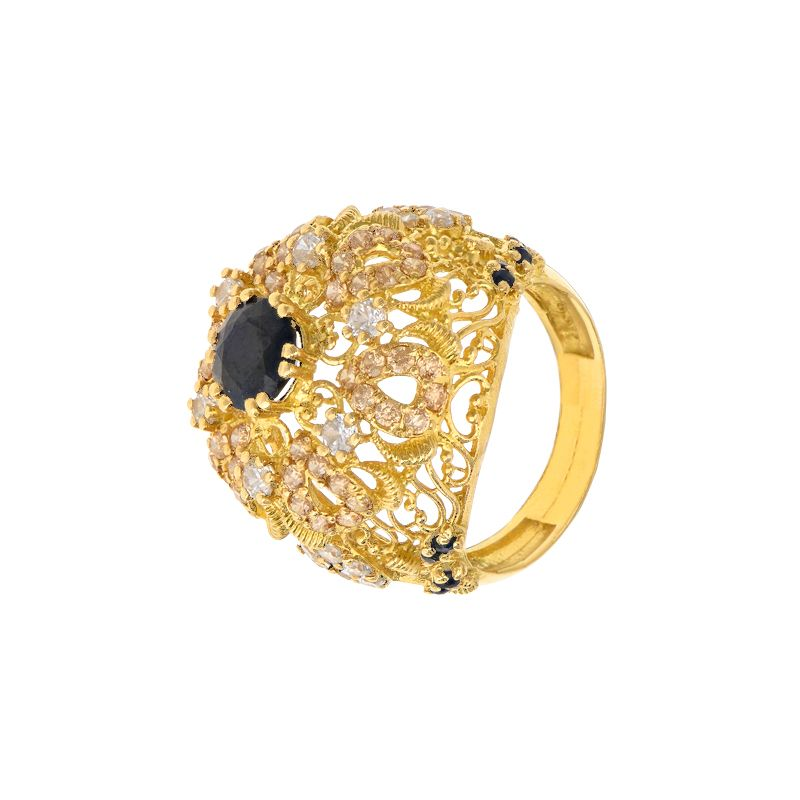 22k Gold Cz Gems Cocktail Ring