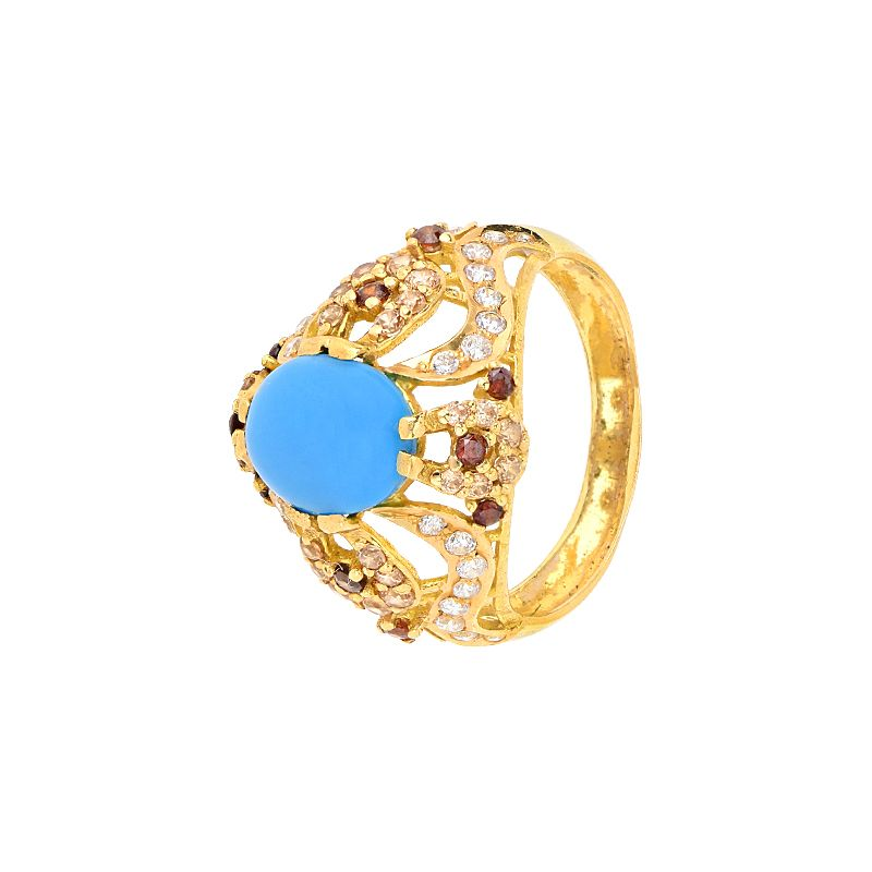 22k Gold Feroza Cz Gold Ring