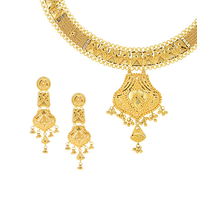 22k Gold Filigree Dangle Necklace