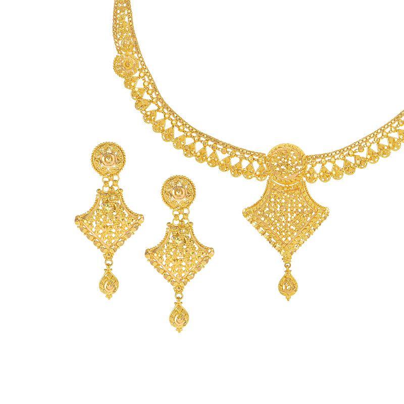 22k Gold Gleaming Filigree Collar Necklace