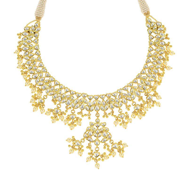 22k Gold Kundan Dangles Gold Necklace