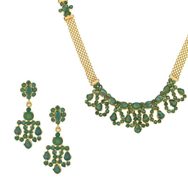 22k Gold Alluring Emerald Necklace Set