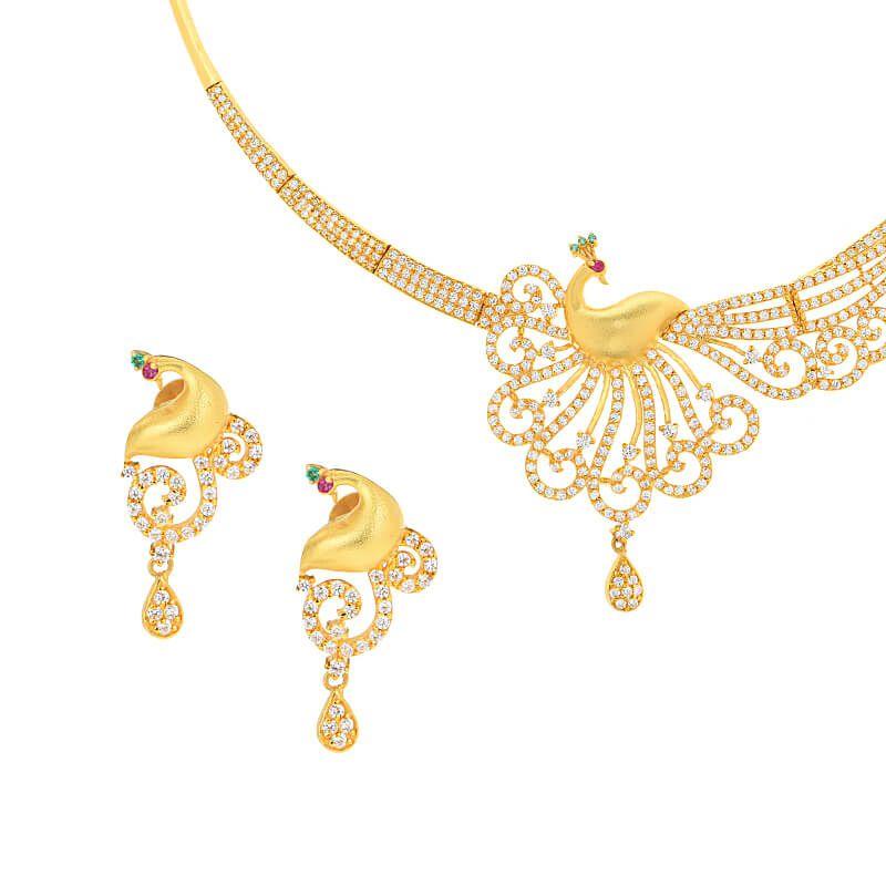 22k Gold Matte Peacock CZ Necklace