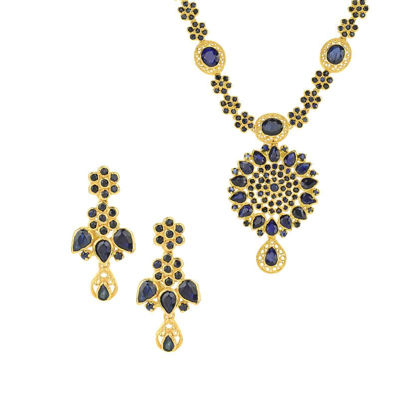22k Gold Sapphire Gems Necklace Set