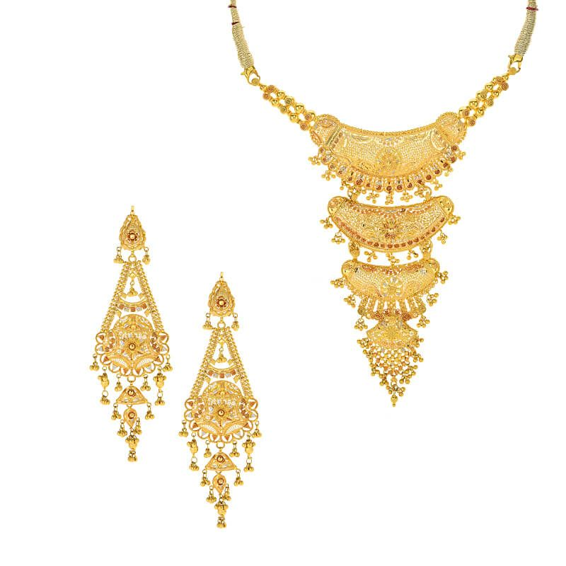 22k Gold Layered Filigree Necklace Set
