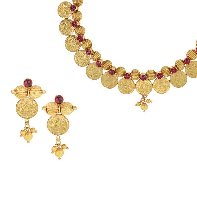 22k Gold Kasu Coins Collar Necklace