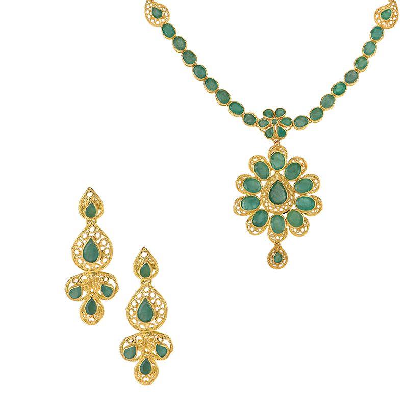 22k Gold Floral Drop Emerald Necklace