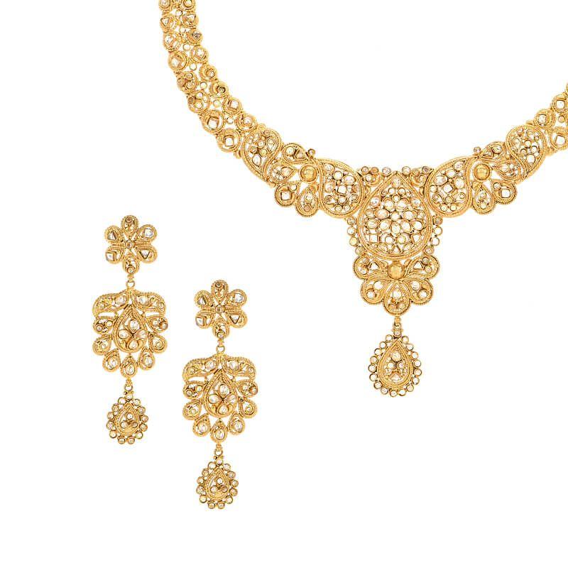 22k Gold Paisley Gold Polki Necklace