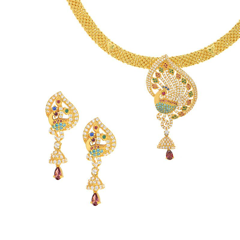 22k Gold Colorful CZ Peacock Necklace