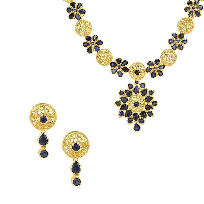 22k Gold Floretts Sapphire Necklace Set