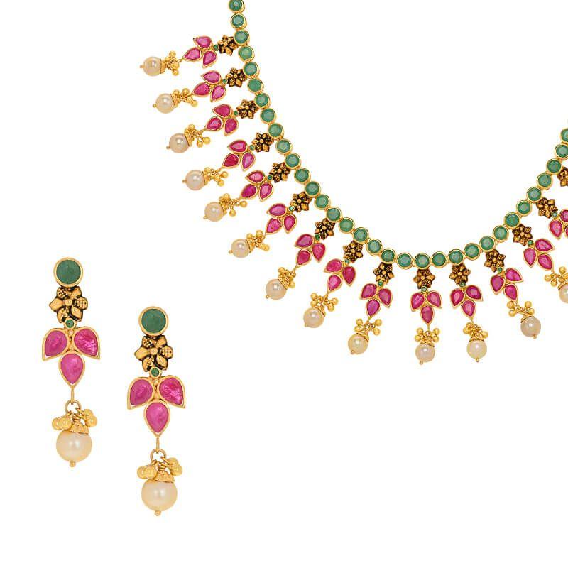 22k Gold Ruby Emerald Necklace Set