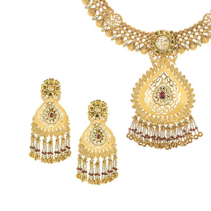 22k Gold Antique Gold Dangles Necklace