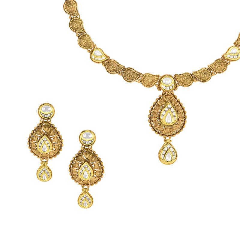 22k Gold Antique Mango Necklace Set