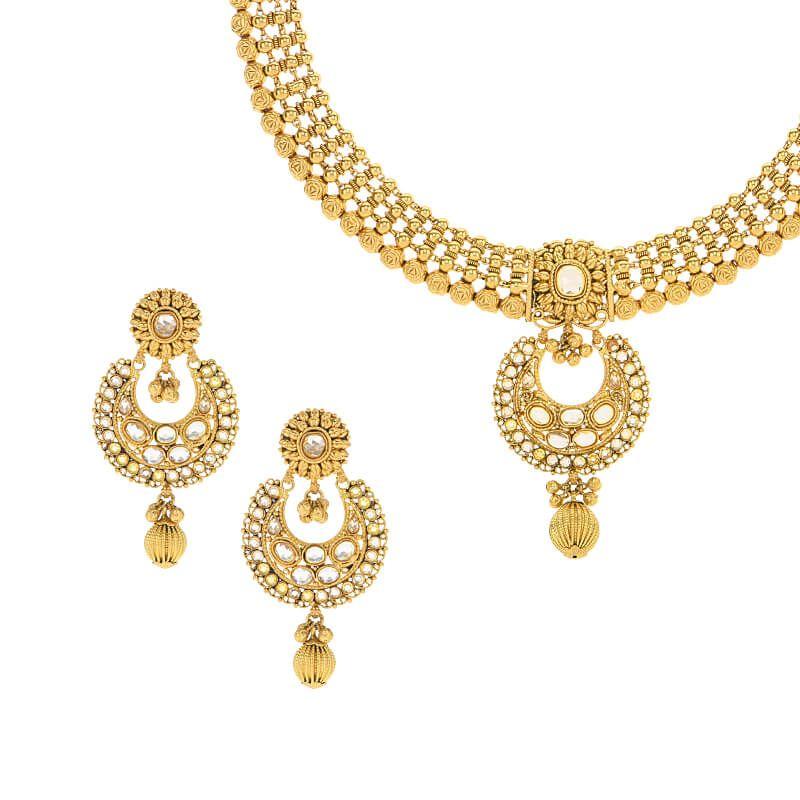 22k Gold Beaded Gold Polki Necklace