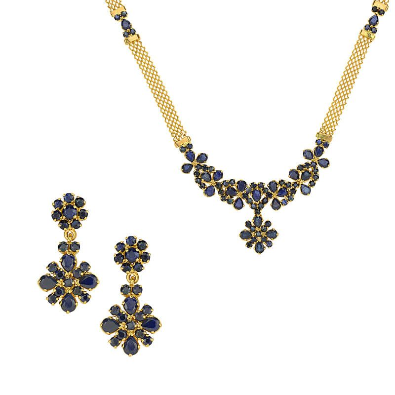 22k Gold Glossy Sapphire Necklace Set