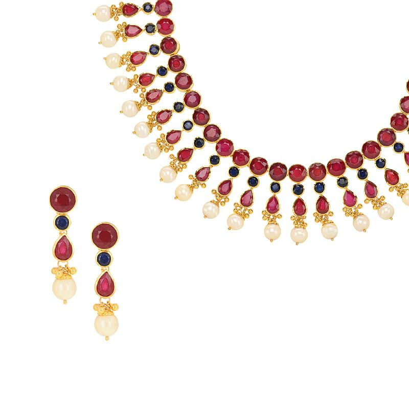 22k Gold Ruby Sapphire Necklace Set