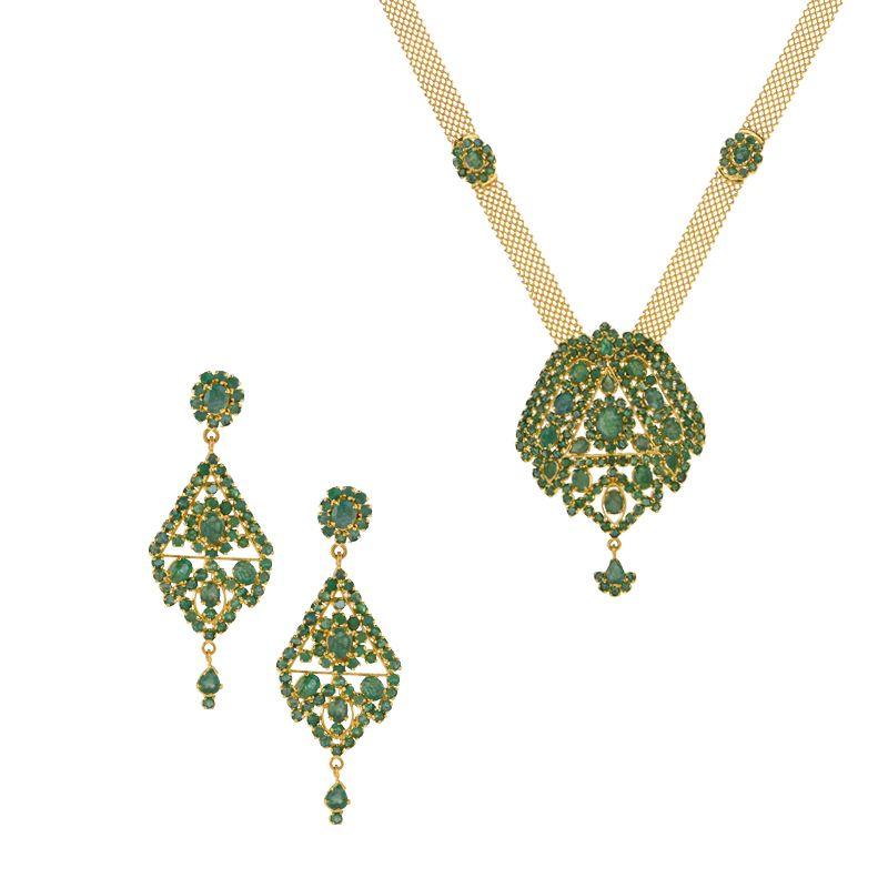 22k Gold Emerald Jali Necklace Set