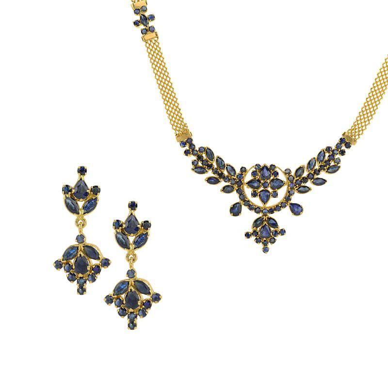 22k Gold Alluring Sapphire Necklace Set