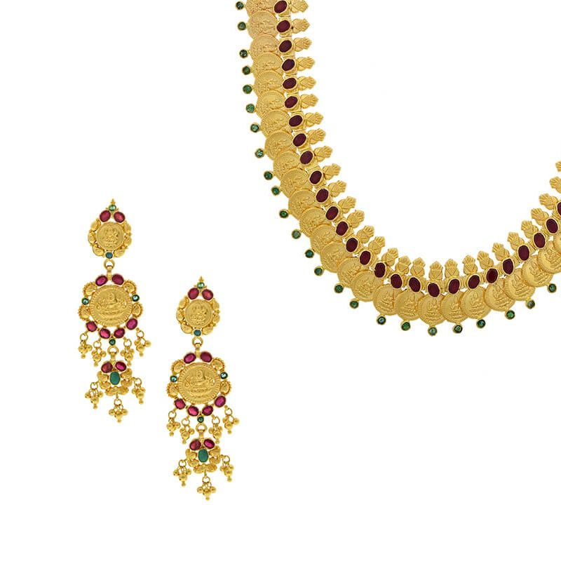 22k Gold Long Kasu Coin Necklace