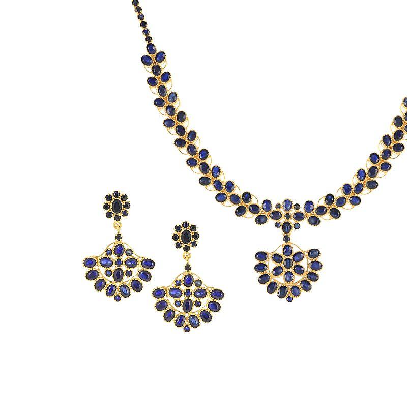 22k Gold Blue Sapphire Necklace Set