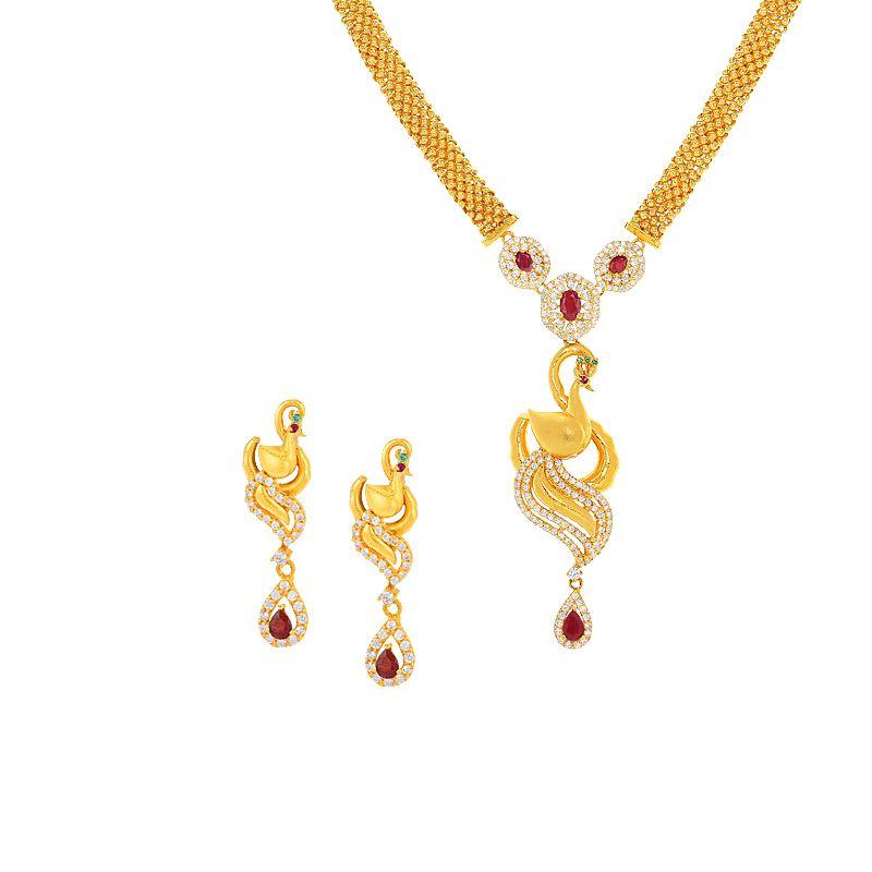 22k Gold Inoa Peacock Designer Necklace