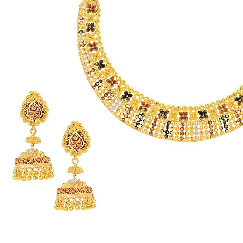 22k Gold Floret Tri-Tone Necklace