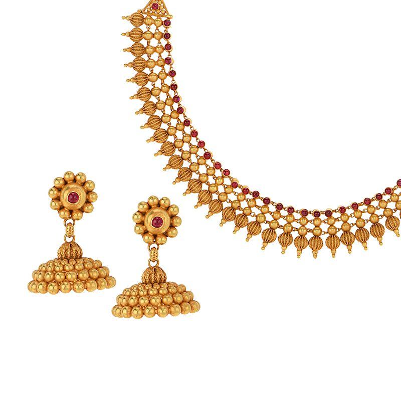 22k Gold Beads Gheru Collar Necklace