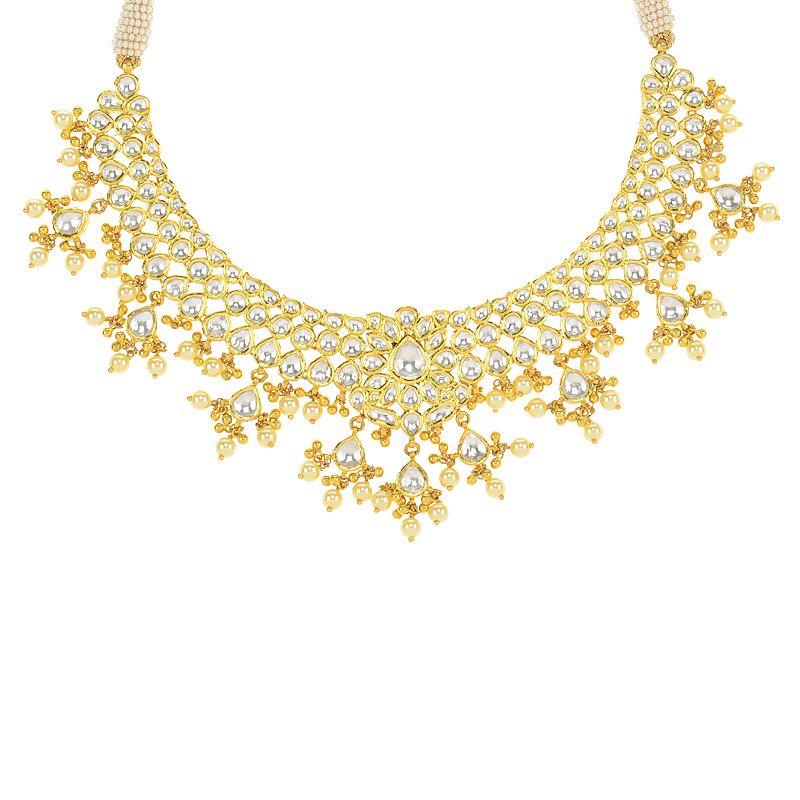 22k Gold Elaborate Kundan Gold Necklace