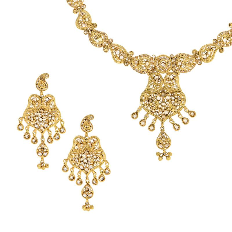 22k Gold Paisley Polki Necklace Set