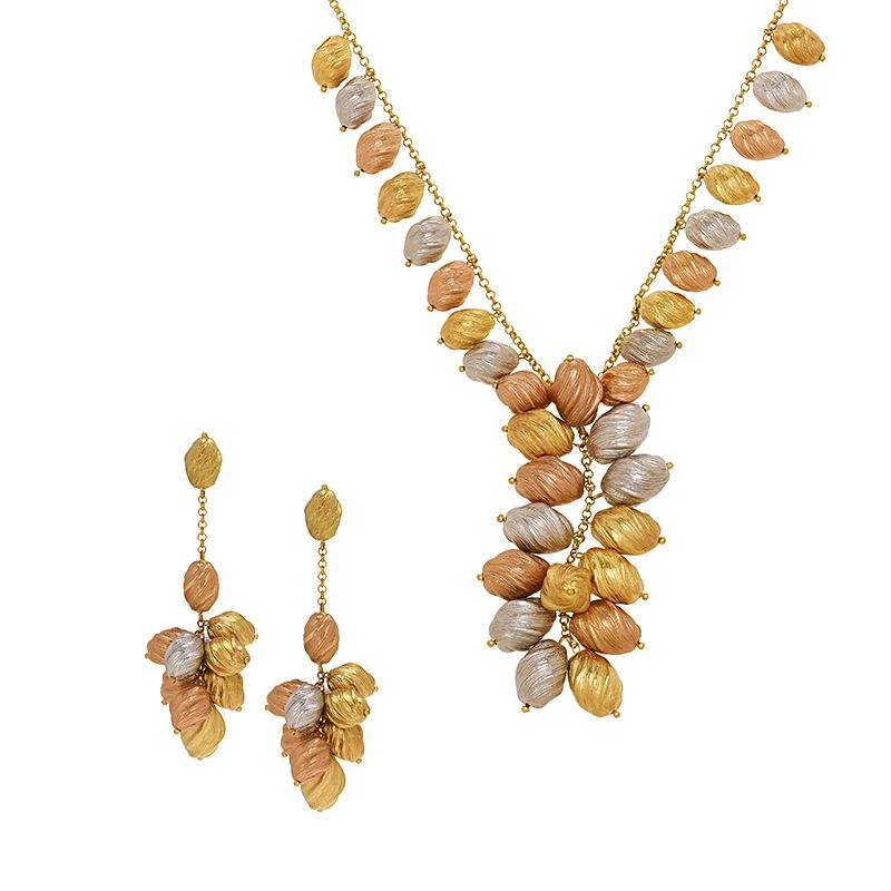 22k Gold 3-Tone Dangle Beads Necklace