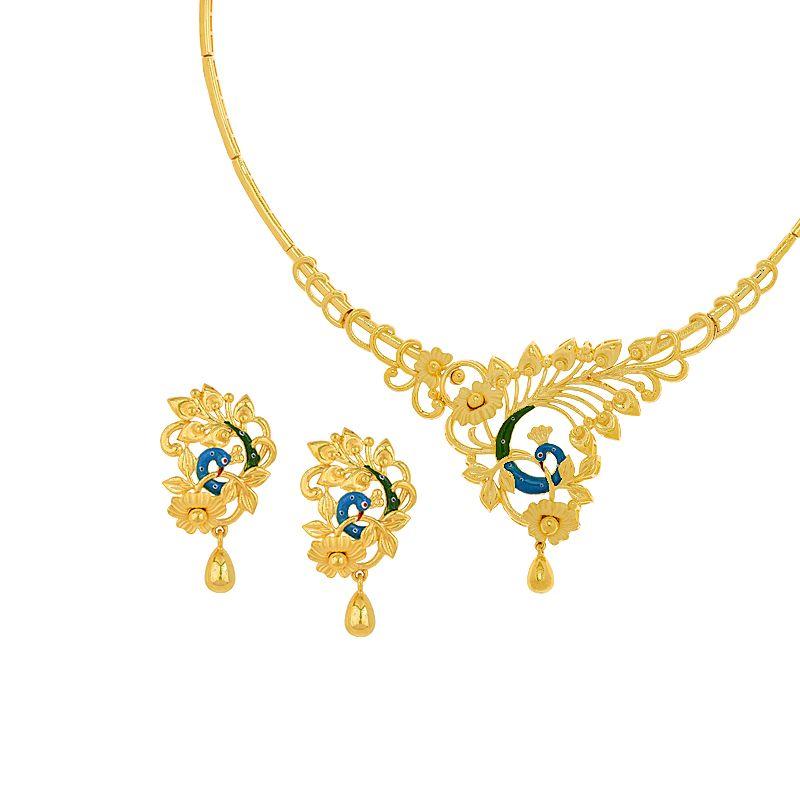 22k Gold Feminine Enamel Peacock Necklace