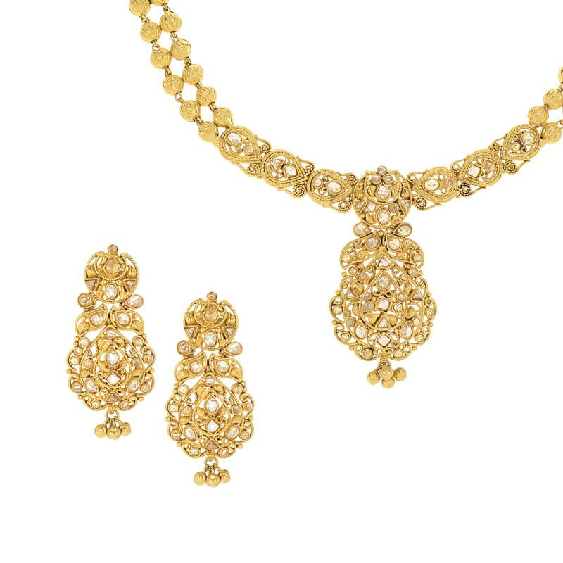 22k Gold Intricate Polki Necklace Set