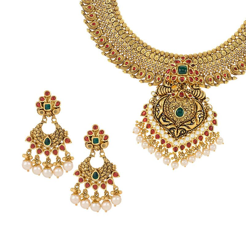 22k Gold Akrut Antique Gold Necklace