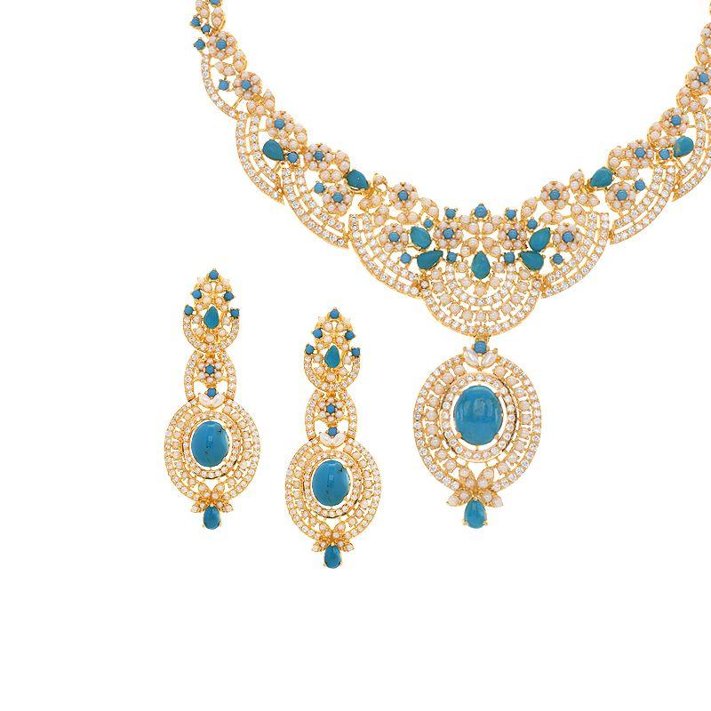 22k Gold Feroza Pearl Necklace Set