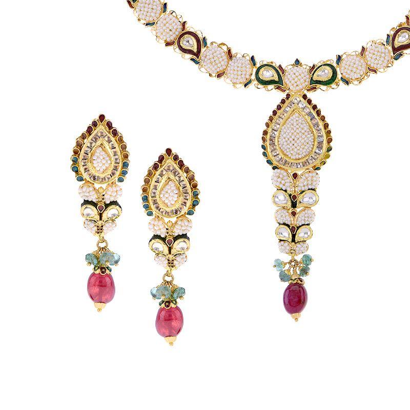 22k Gold Sunisha Pearl Necklace Set