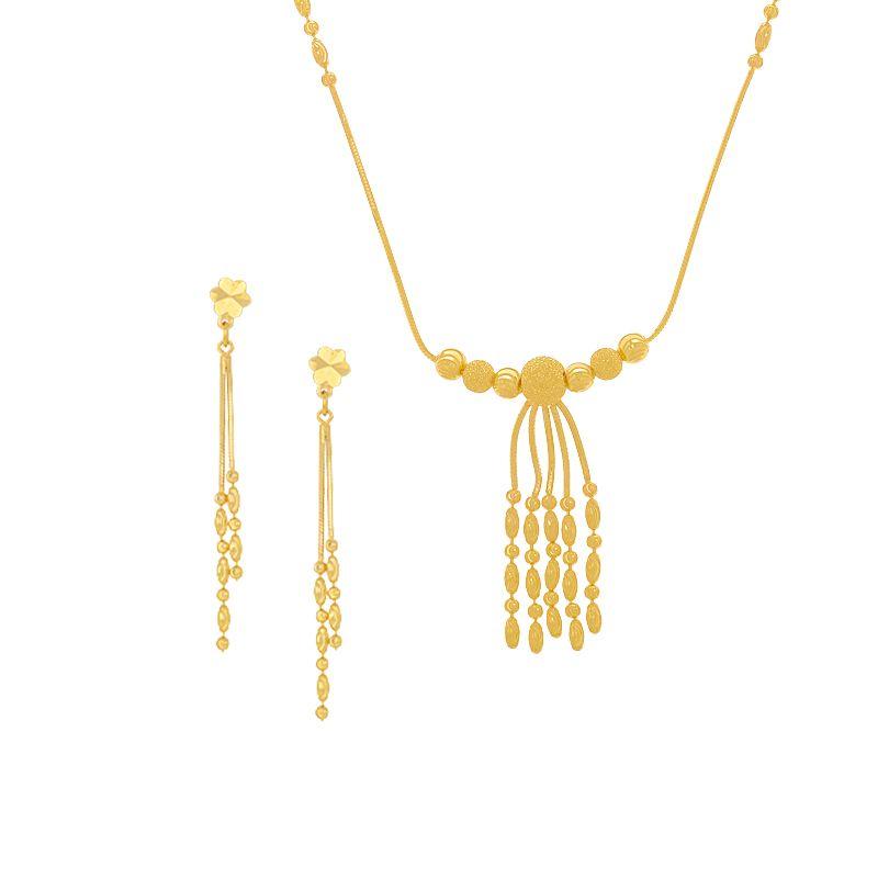 22k Gold Sleek Balls Tassel Necklace