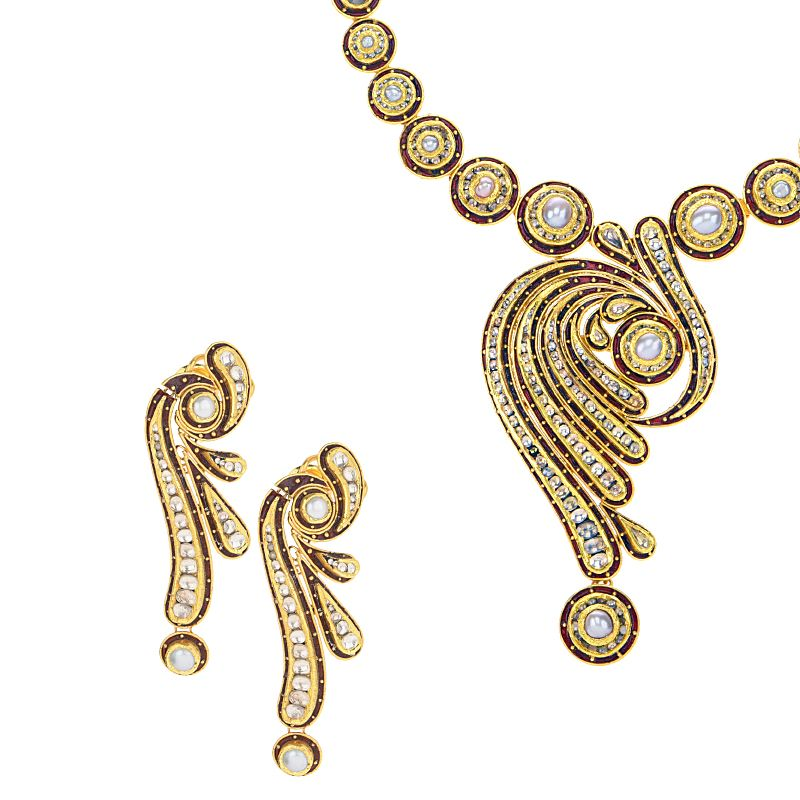 22k Gold Kundan Pearl Gold Necklace