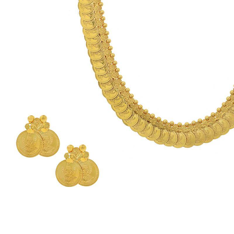 22k Gold Polished Kasu Mala Necklace
